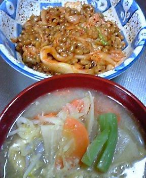 納豆キムチとお味噌汁 (*^^*)